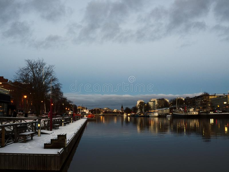 Aura do rio em Turku Finlandia, Escandinávia, Europa fotografia de stock