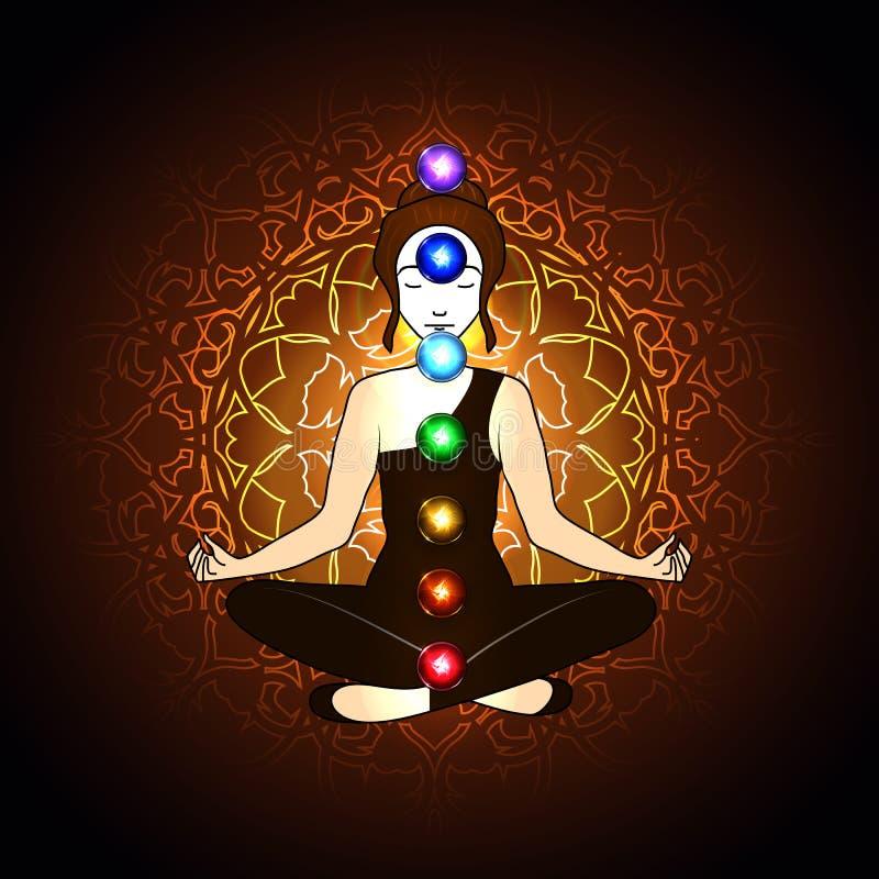 Aura e chakra, meditação ilustração do vetor