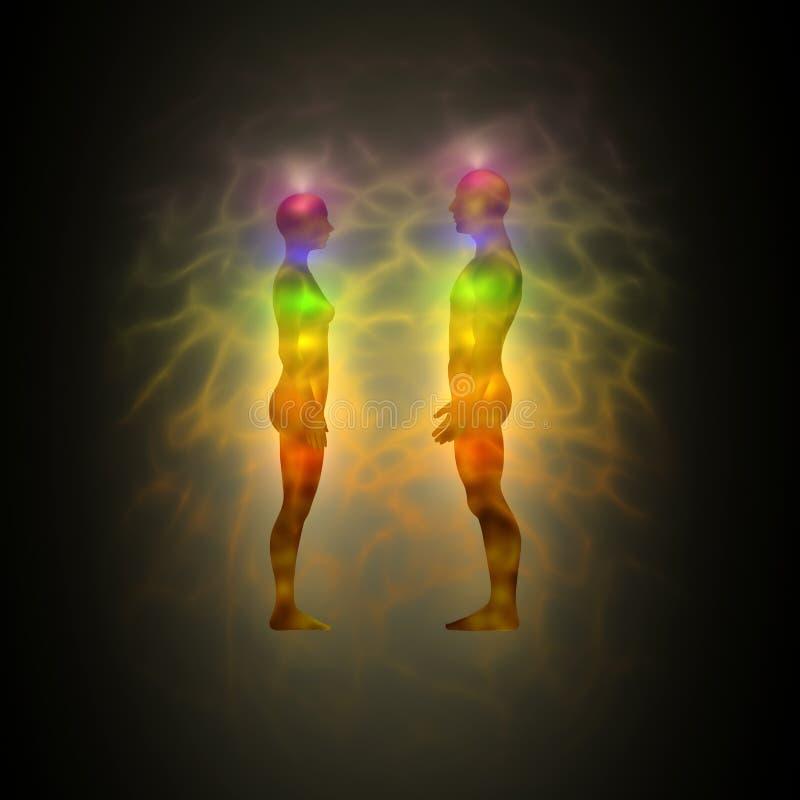 Aura - energielichaam - helende energie royalty-vrije illustratie