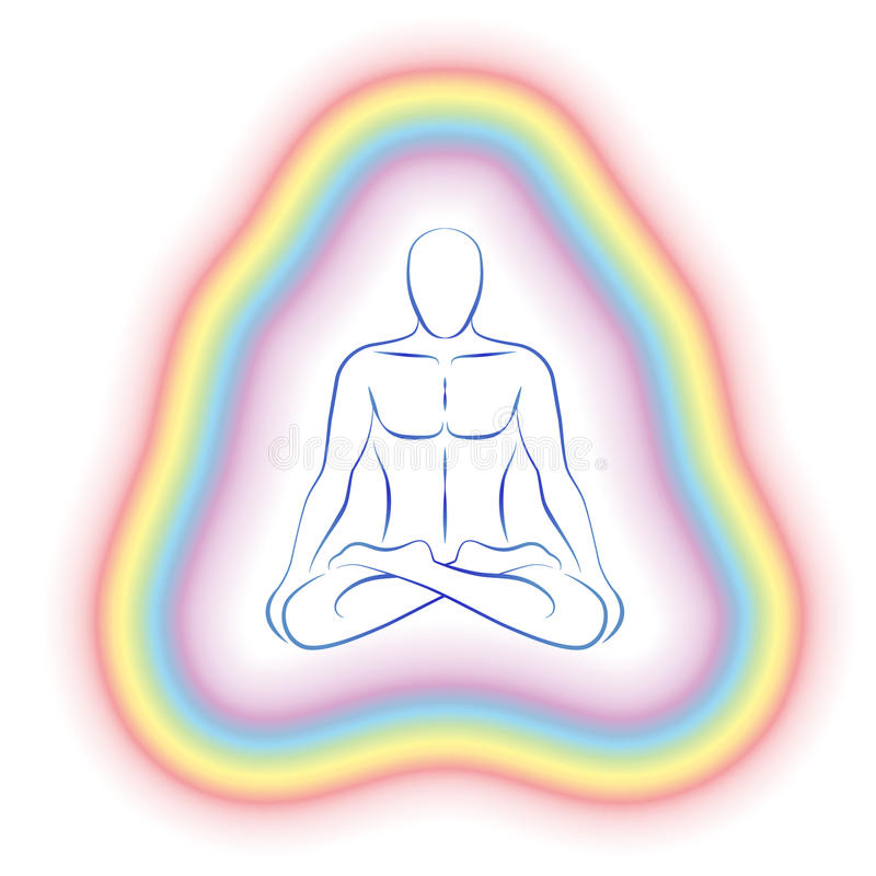 Aura Meditation Subtle Body Man. Aura or subtle body of a meditating man in yoga position. Vector illustration on white background vector illustration