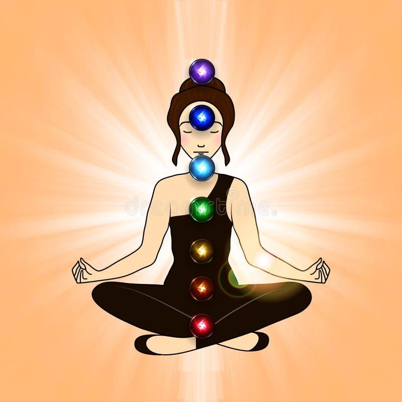 Aura och chakra, meditation stock illustrationer