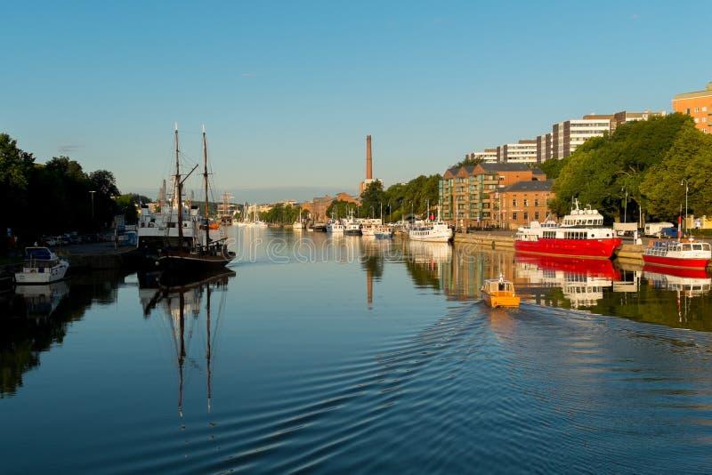 Aura River i Turku/Finland royaltyfria bilder
