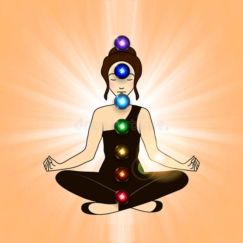 Aura und chakra, Meditation stock abbildung