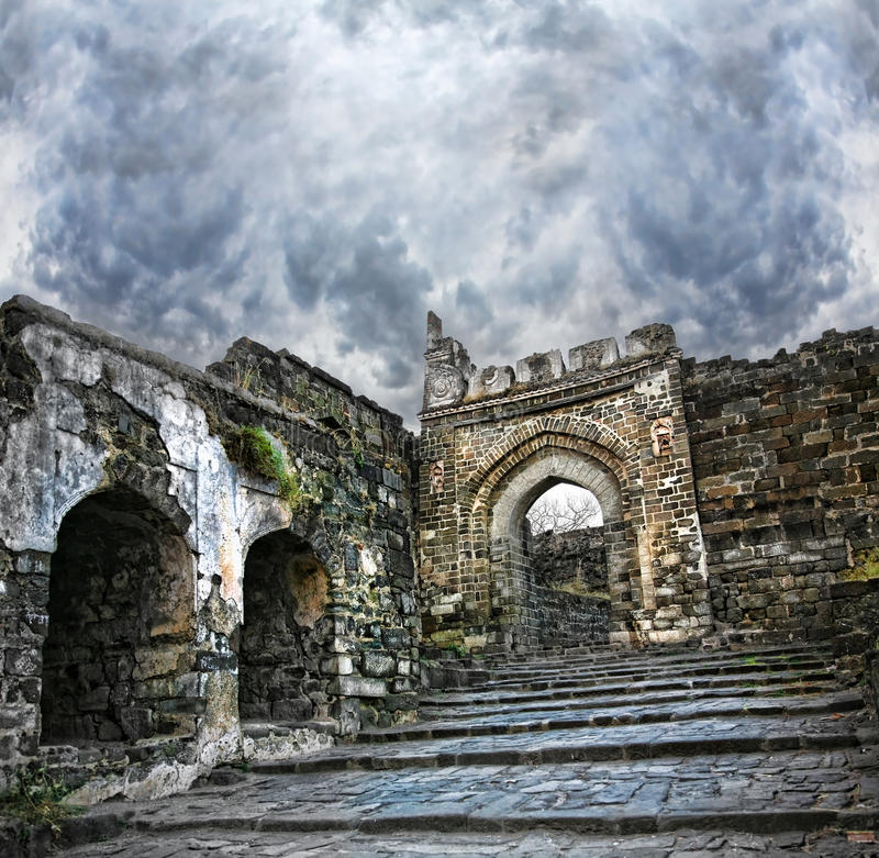aurangabad daulatabad堡垒印度 库存照片
