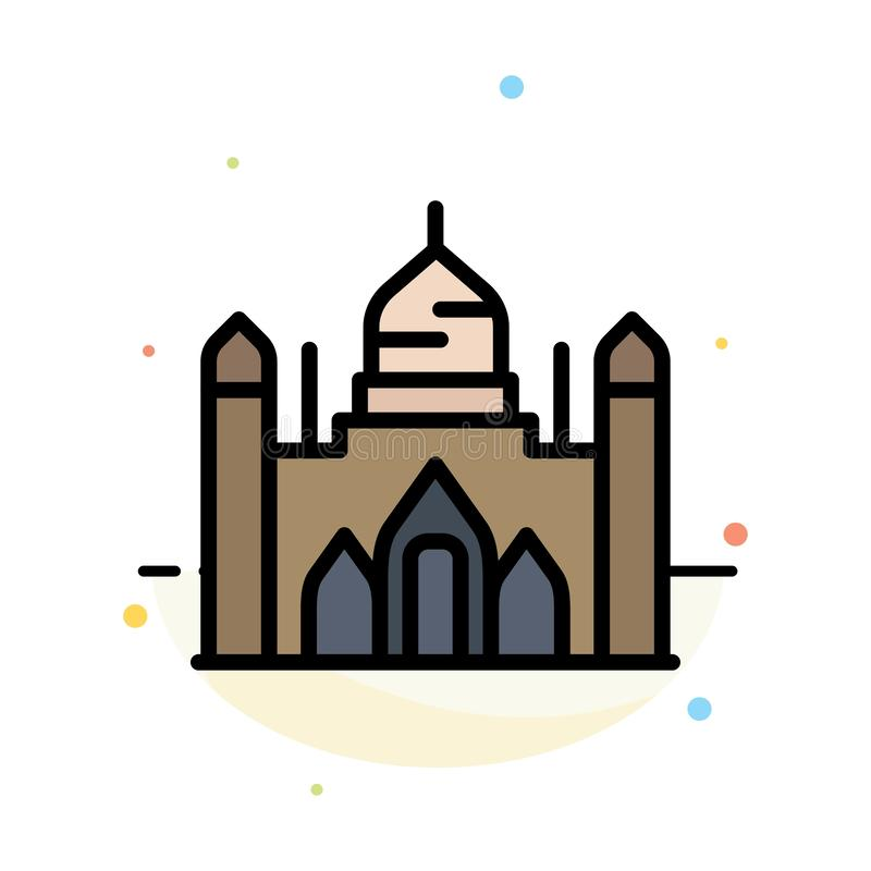 Aurangabad Fort, Bangladesh, Dhaka, Lalbagh Abstract Flat Color Icon Template vector illustration