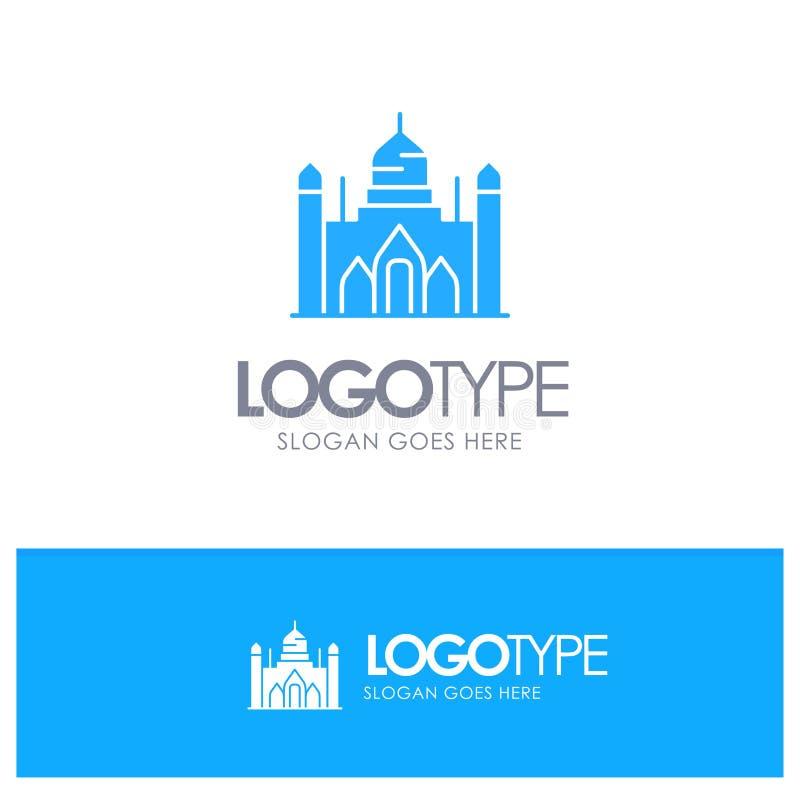 Aurangabad fort, Bangladesh, Dhaka, Lalbagh blå fast logo med stället för tagline vektor illustrationer