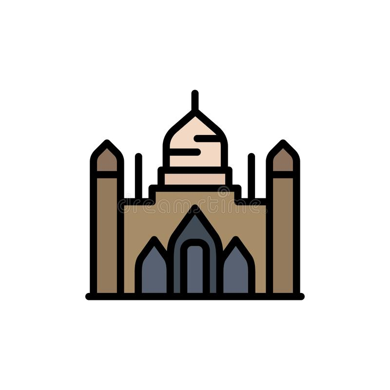 Aurangabad Fort, Bangladesh, Dhaka, Lalbagh  Flat Color Icon. Vector icon banner Template stock illustration