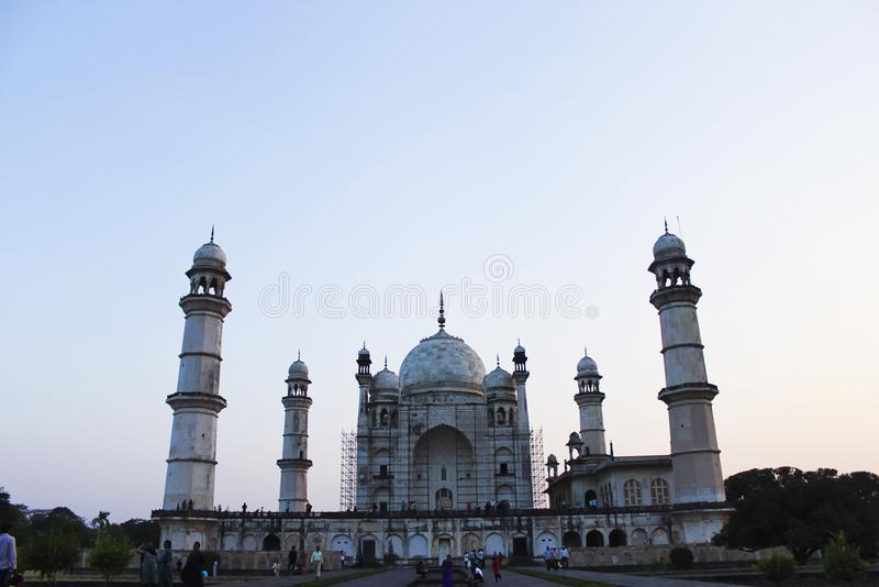 AURANGABAD, MAHARASHTRA, INDIA, November 2018, Tourist at Bibi Ka Maqbara built by Mughal emperor Aurangzeb`s son Azam Shah in the. Memory of his mother stock photos