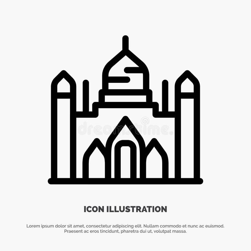Aurangabadfort, Bangladesh, Dhaka, Lalbagh-de Vector van het Lijnpictogram stock illustratie
