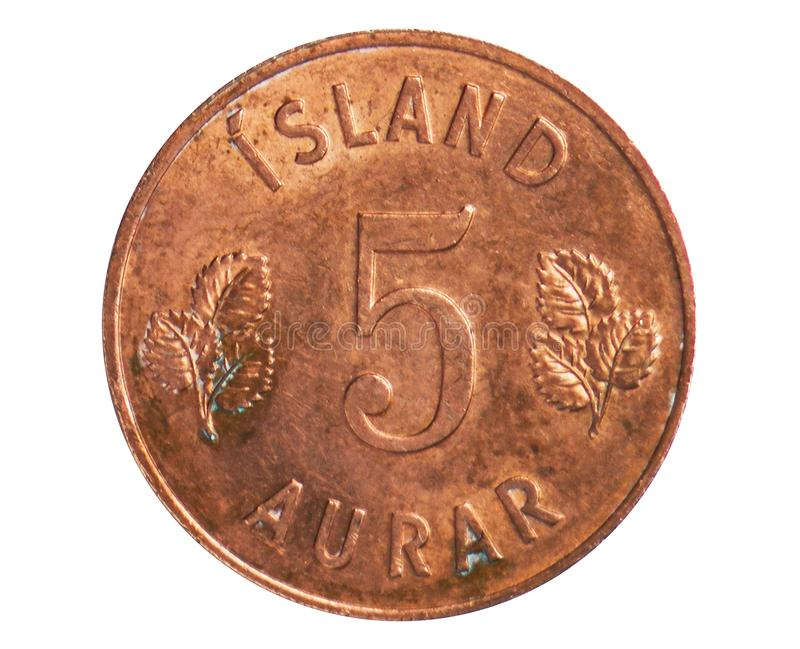 5 Aurar coin, 1922~1980 - Krona - Circulation serie, Bank of Iceland. Obverse, issued on 1946. Isolated on white stock photos