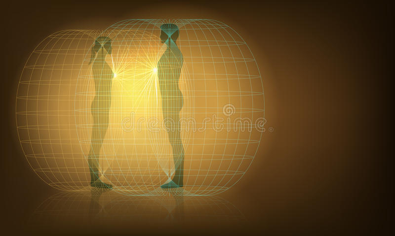 Auras interaction. Vector Conceptual Illustration of Man and Woman Auras Interaction, Eps10 vector, Gradient Mesh and Transparency Used royalty free illustration