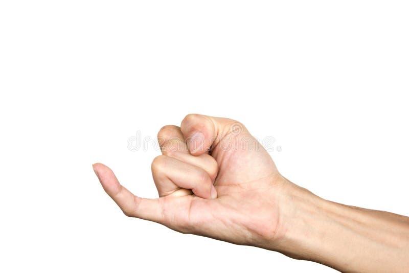Auriculaire faisant la promesse Geste de main d'isolement sur le fond blanc Langage du corps Chemin de coupure image libre de droits