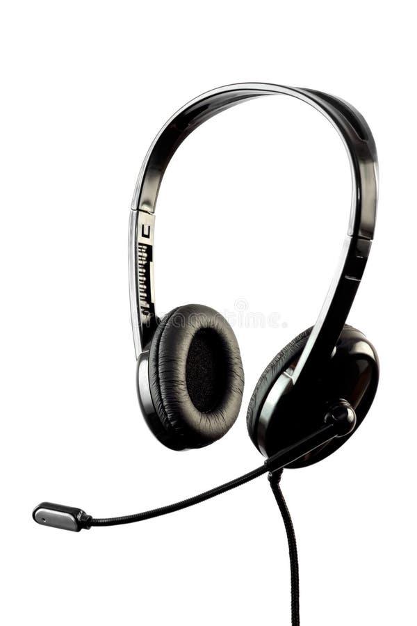 Auricular con estilo negro con el micrófono foto de archivo libre de regalías