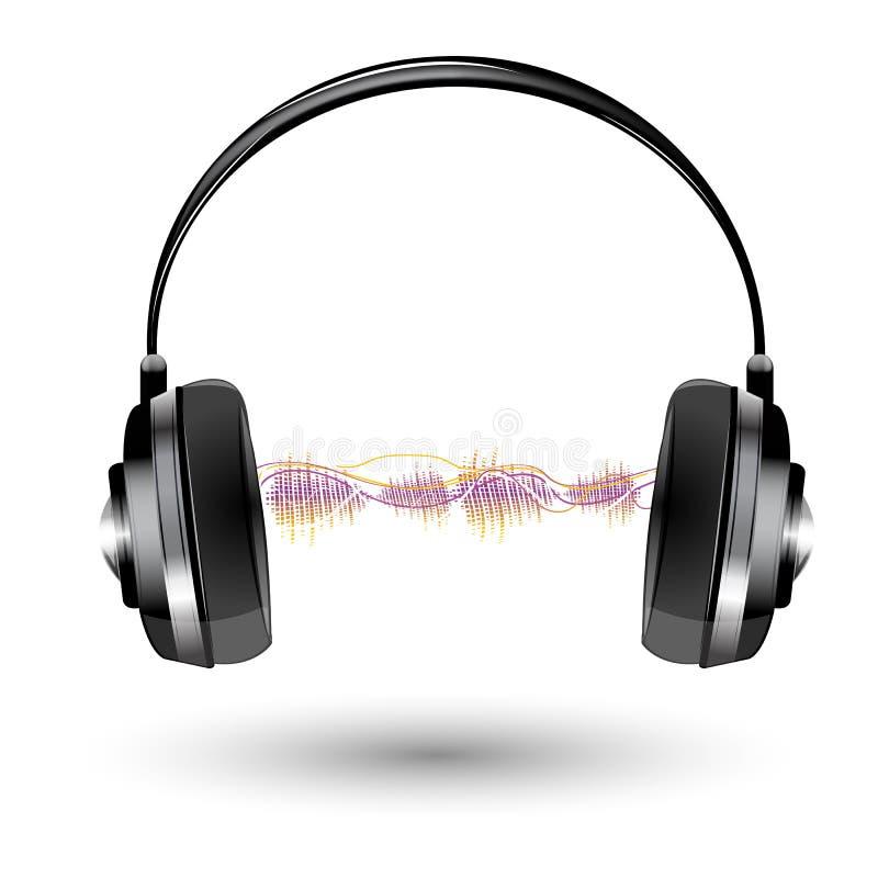 Auricular con la onda acústica ilustración del vector
