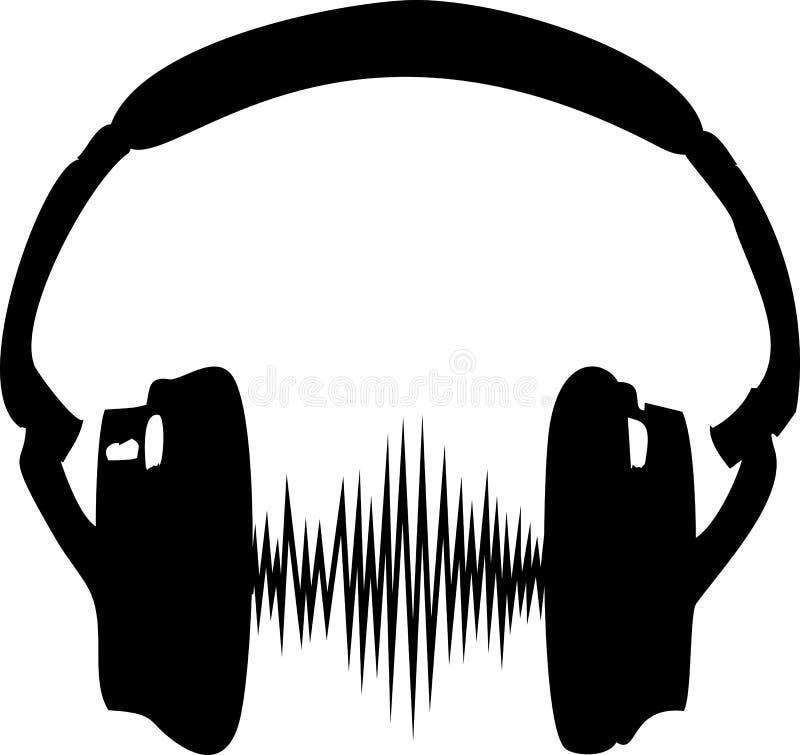 Auricular, música, onda, frecuencia ilustración del vector