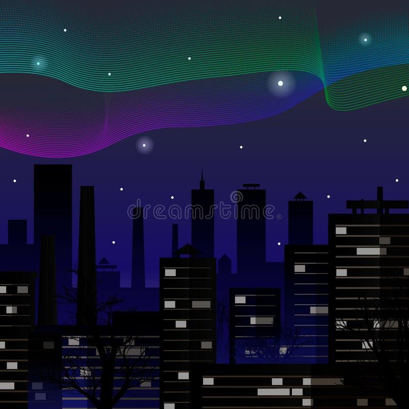 auricular Nordliga ljus över nattstadsbyggnader också vektor för coreldrawillustration royaltyfri illustrationer