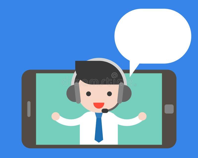 Auricular que lleva del hombre de negocios en la pantalla de la tableta o del teléfono móvil y stock de ilustración