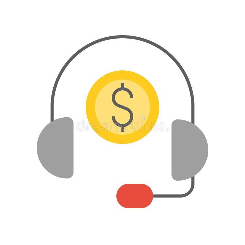 Auricular y moneda, servicio financiero personal del consultor, banco ilustración del vector