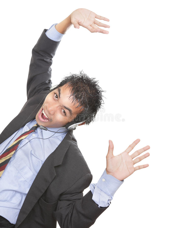 Auriculares Cheering de w do comerciante fotografia de stock
