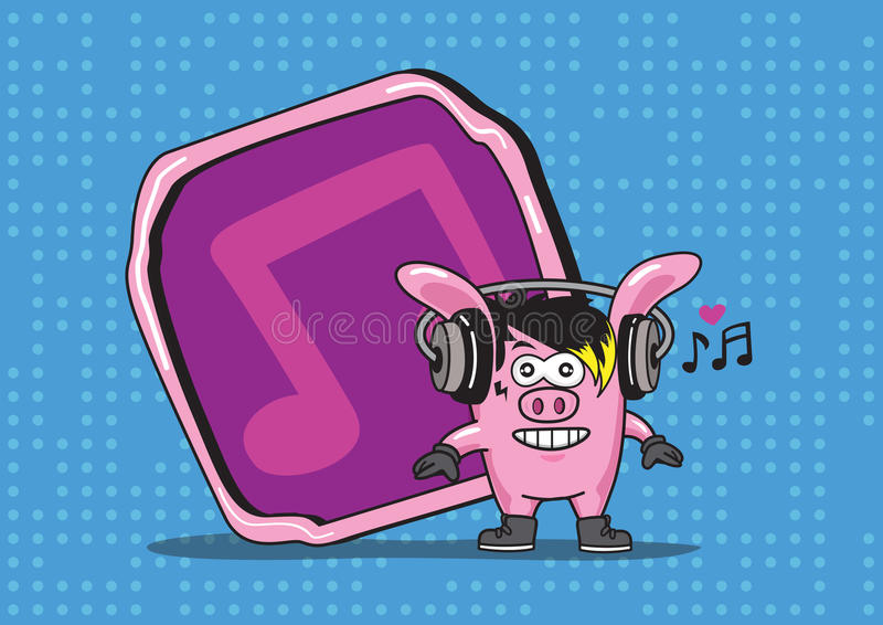 Auriculares de la canción del cerdo de la música stock de ilustración