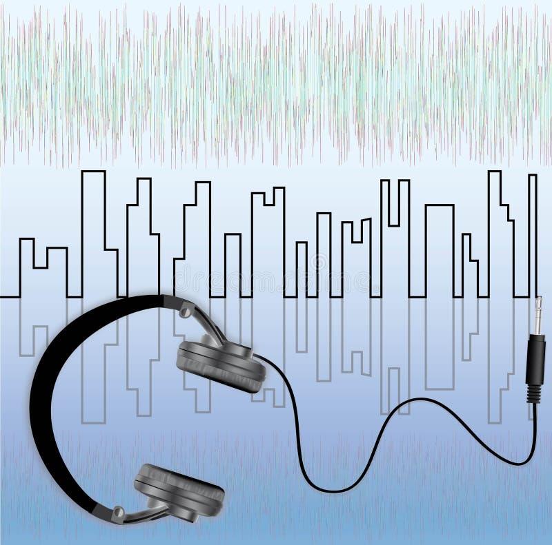 Auriculares de la música ilustración del vector