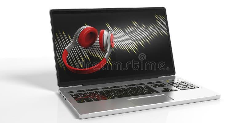 auriculares de la representación 3d en una pantalla del ordenador portátil stock de ilustración