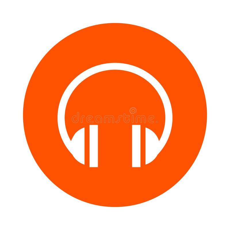 Auriculares de los sonidos, icono redondo, estilo plano ilustración del vector