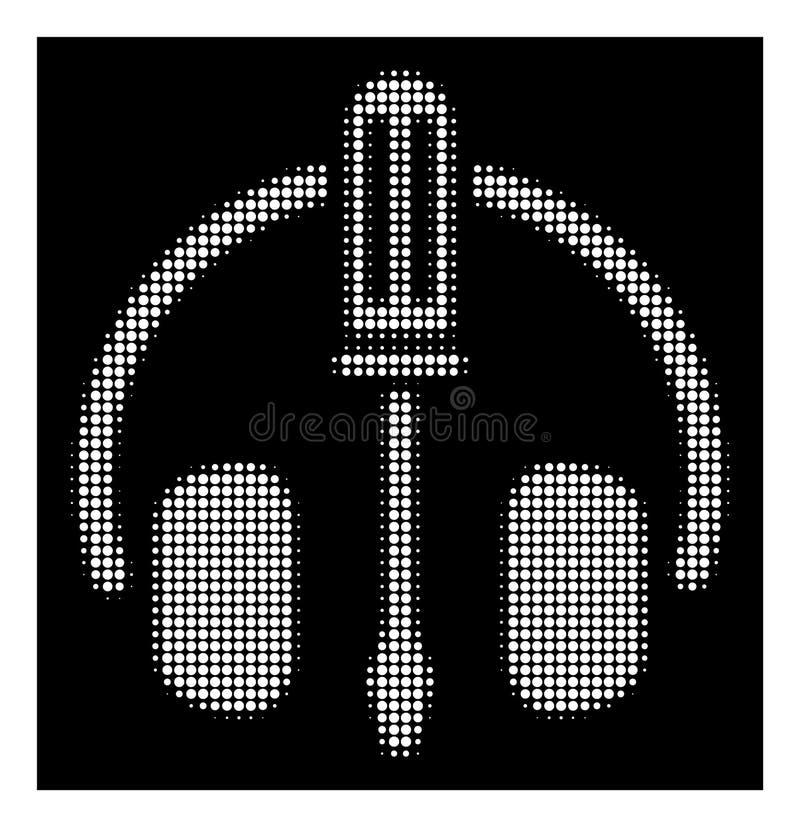 Auriculares de semitono blancos que adaptan el icono del destornillador stock de ilustración