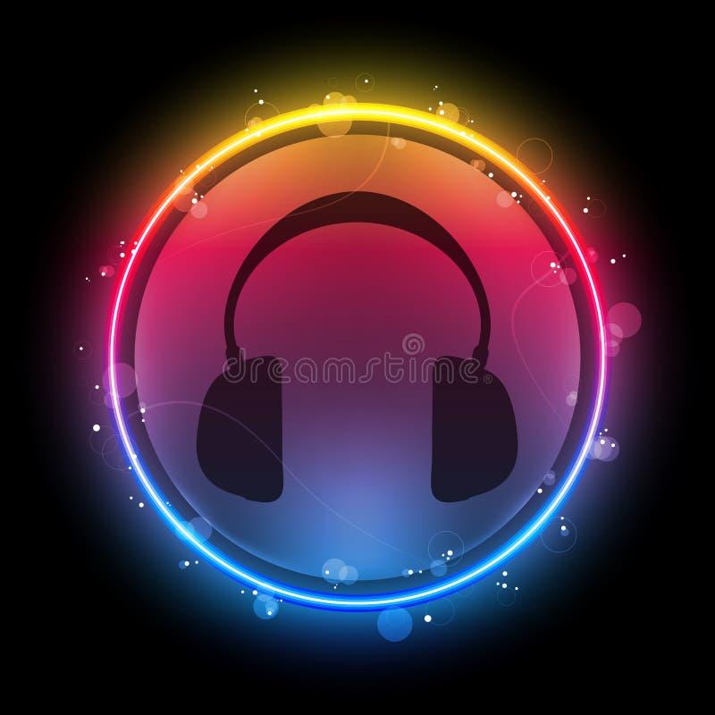 Auriculares del disco con el círculo de neón stock de ilustración