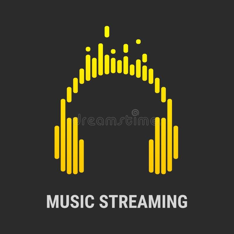 Auriculares del logotipo Equalizador musical Fluir música ilustración del vector