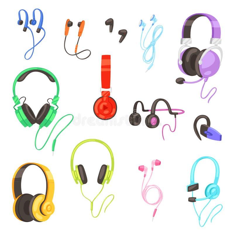 Auriculares del vector del auricular que escuchan los auriculares de la música del sonido estereofónico y el sistema audio modern stock de ilustración