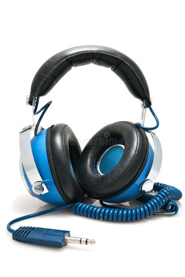 Auriculares estéreos azules fotos de archivo