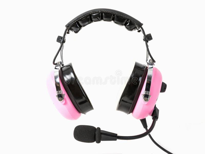 Auriculares experimentales rosados, auriculares de la aviación para los pilotos foto de archivo libre de regalías