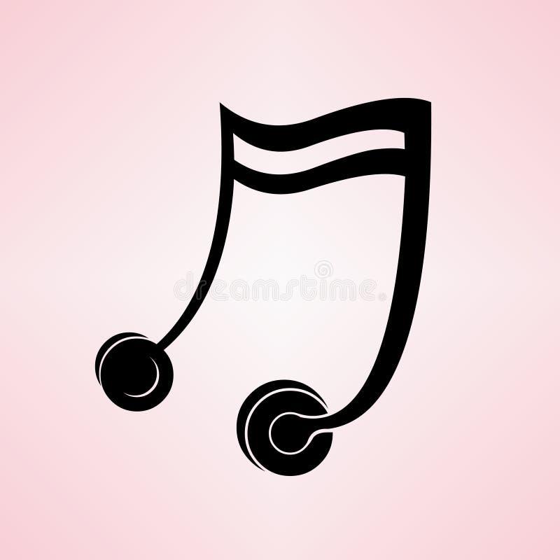 Auriculares formados nota de la música ilustración del vector
