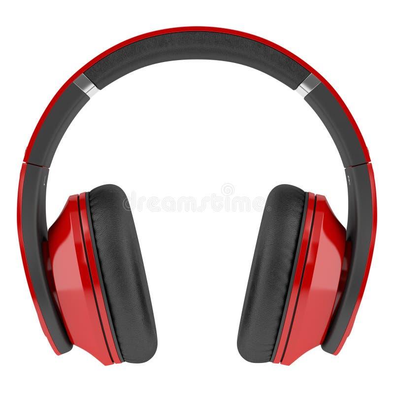 Auriculares inalámbricos rojos y negros aislados en blanco ilustración del vector