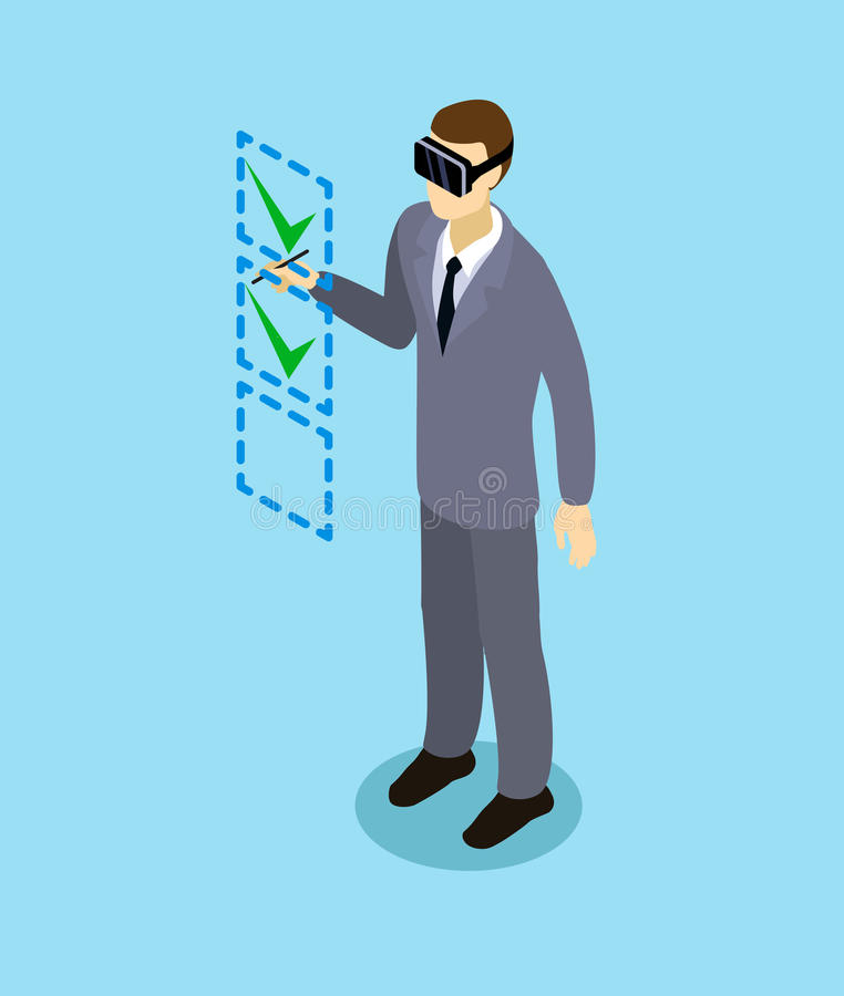 Auriculares isométricas de With Virtual Reality del hombre de negocios libre illustration