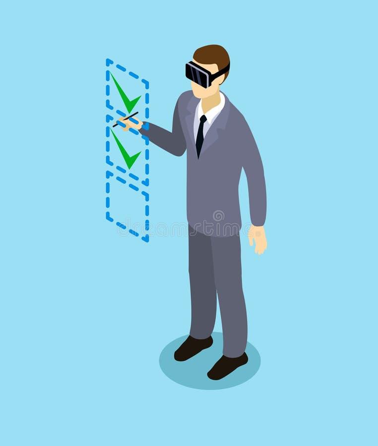 Auriculares isométricos de With Virtual Reality do homem de negócios ilustração royalty free