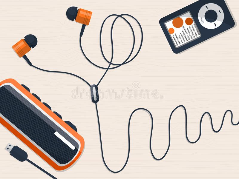 Auriculares, jugador de música y mini locutor en la tabla con el lugar para su texto stock de ilustración