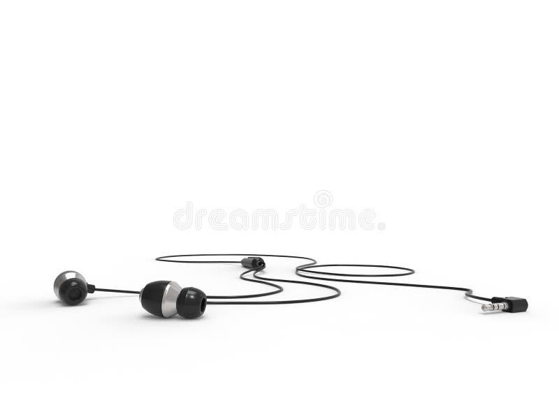 Auriculares modernos del negro del defecto - en la tierra libre illustration