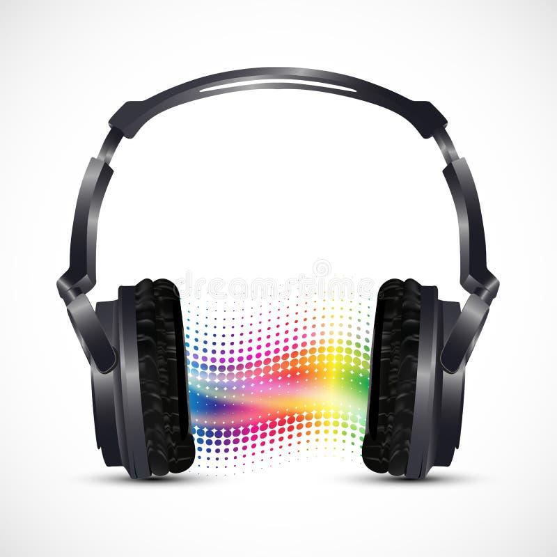 Auriculares musicales con el equalizador stock de ilustración