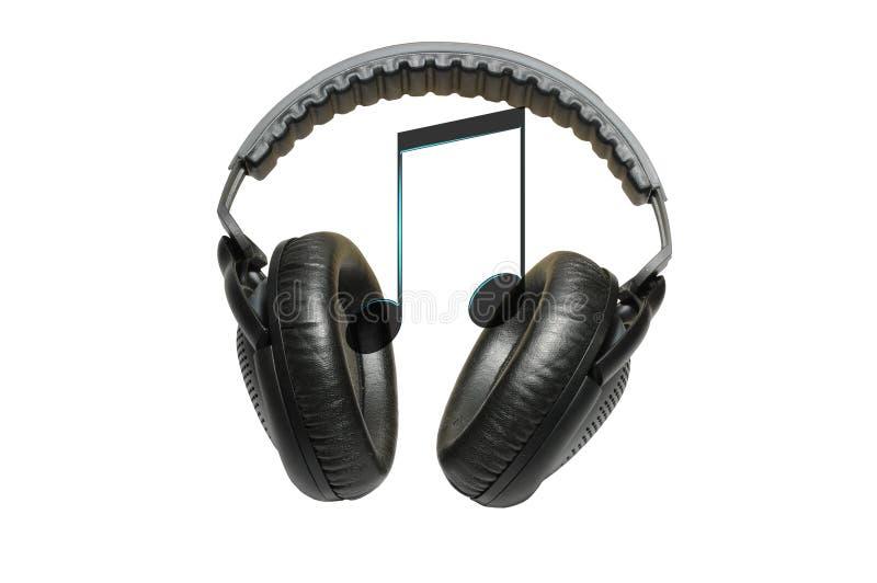 Auriculares profesionales y música aislados en blanco