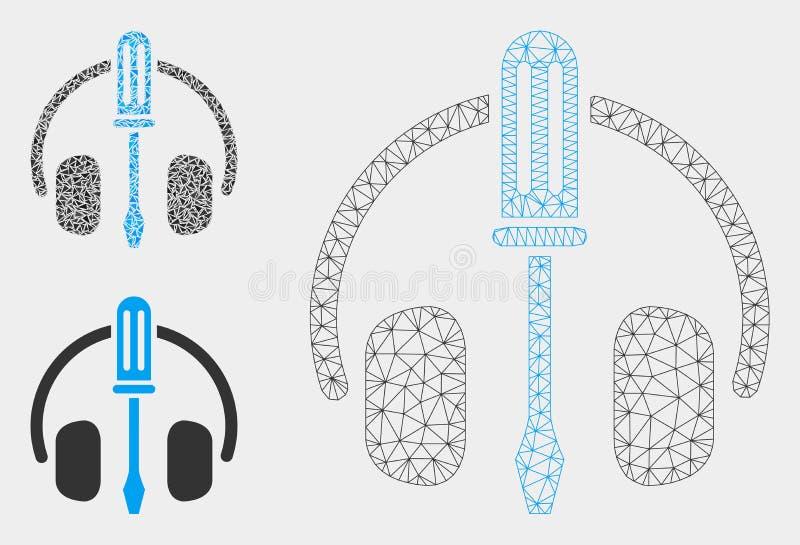 Auriculares que adaptan el vector Mesh Carcass Model del destornillador y el icono del mosaico del triángulo stock de ilustración