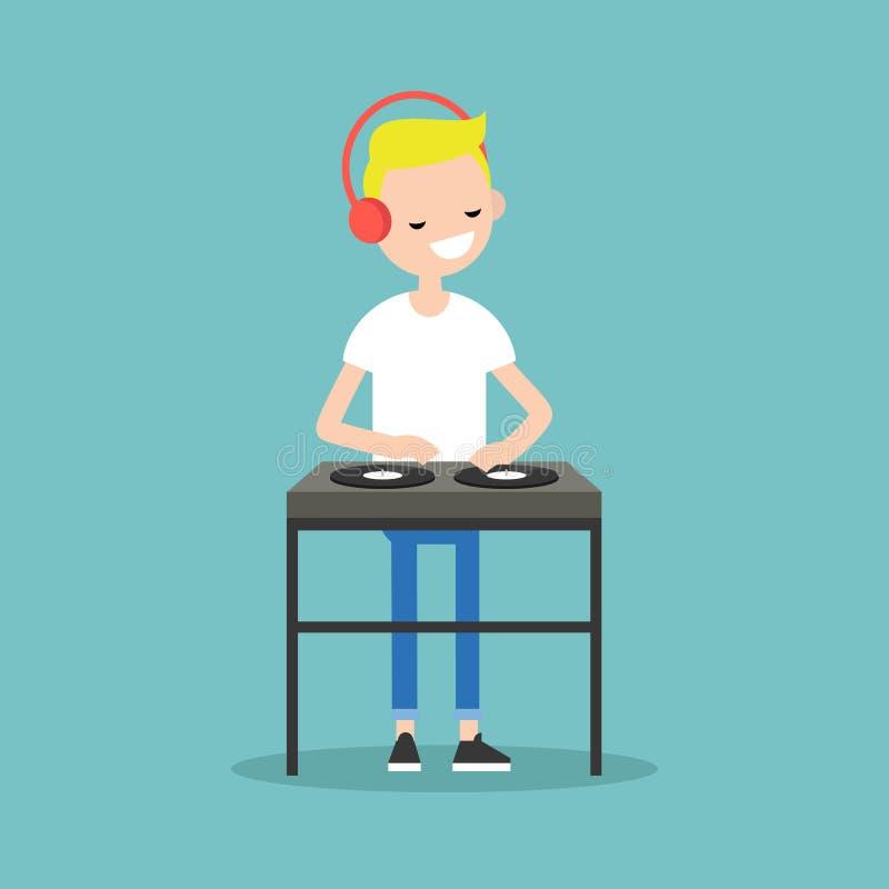 Auriculares que llevan rubios jovenes de DJ y rasguño de un expediente en libre illustration
