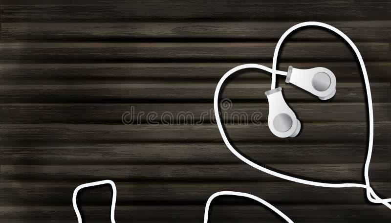 Auriculares realistas en un fondo de madera bajo la forma de coraz?n objeto a escuchar la m?sica en el estilo del realismo, m?sic ilustración del vector