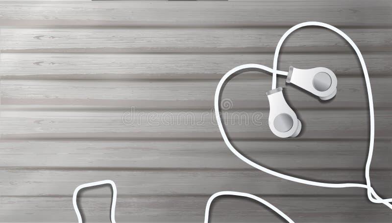Auriculares realistas en un fondo de madera bajo la forma de coraz?n objeto a escuchar la m?sica en el estilo del realismo, m?sic stock de ilustración