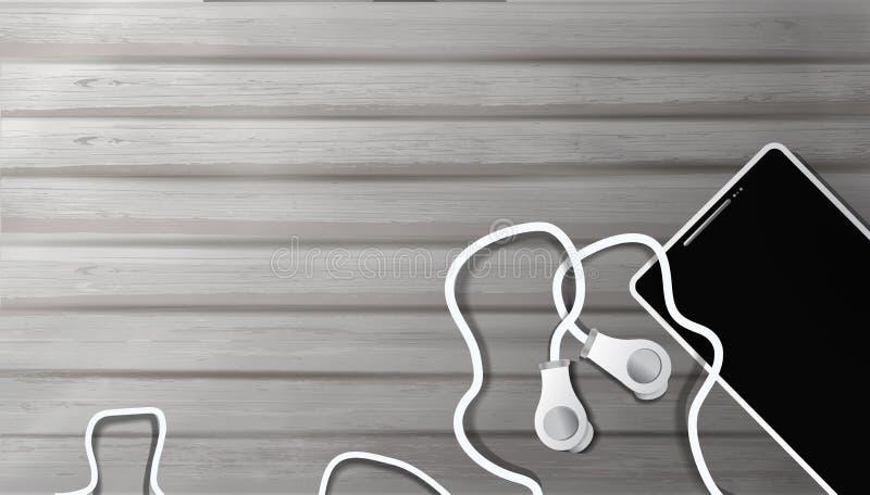 Auriculares realistas y tel?fono m?vil en viejo fondo de madera objetos a escuchar la m?sica en el estilo del realismo, fondo 3D stock de ilustración