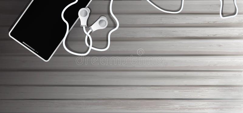 Auriculares realistas y tel?fono m?vil en viejo fondo de madera objetos a escuchar la m?sica en el estilo del realismo, fondo 3D libre illustration