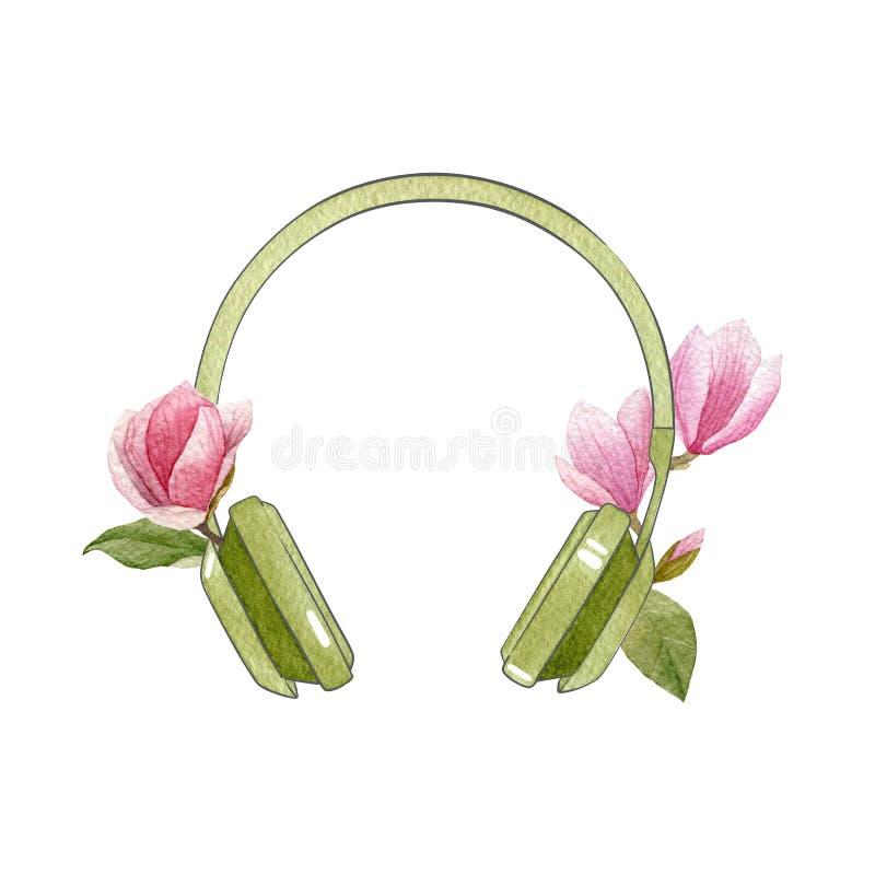 Auriculares verdes de la acuarela con las flores de la magnolia Ejemplo brillante de la primavera aislado en el fondo blanco Logo ilustración del vector