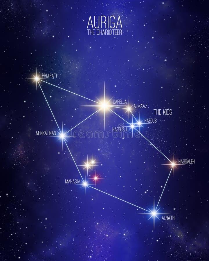 Auriga a constelação da auriga em um fundo estrelado do espaço ilustração royalty free