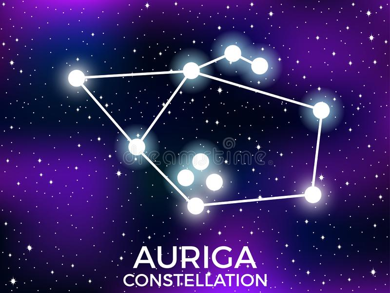 Auriga constellation. Starry night sky. Cluster of stars and galaxies. Deep space. Vector. Illustration stock illustration